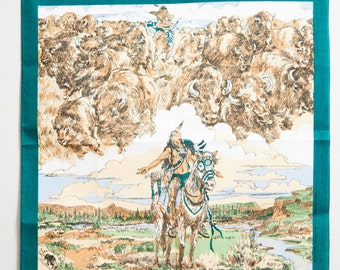 Vintage Native American Bandana #5 | screen printed bandana, vintage bandana, Native American art, art print scarf, American Indian print
