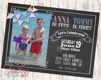 Sibling Birthday Invitation, Boy Girl Birthday Invitation, Chalkboard Invitation, Twin Birthday Party Invitation, Photo Card
