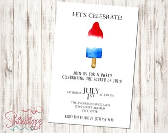 Fourth of July Invitation, 4th of July Invitation, 4th of July Party, Independence Day Invite, Memorial Day Invitation, Memorial Day