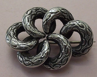 Antique Victorian Silver Scottish Knot Brooch Pin - 1880