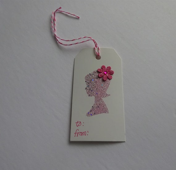 Luxury Handmade Gift Tags - Cream Tag with Pink Girl Print and Flower - 2C