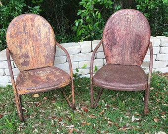 Antique Motel Chair, Vintage chippy paint chair,