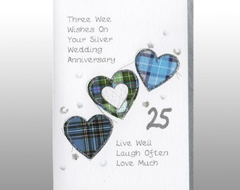 Silver Anniversary Three Hearts Card WWWE37