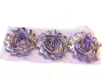 "Lilac Sparkle Gorgeous Shabby Frayed Chiffon Flower Rosettes 3 x 2.5"", hair bands, clips, crafts etc"