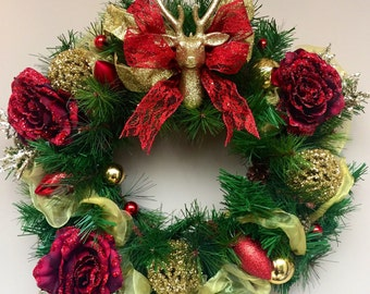 Golden Stag Christmas Wreath