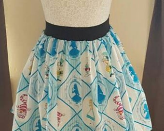 Adult Alice In Wonderland Inspired Skater Skirt
