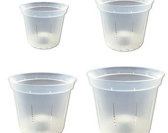 """Slotted Clear Orchid Pots - Growers Assortment (4 pots - 1 each of 3"""", 4"""", 5"""" and 6"""")"""