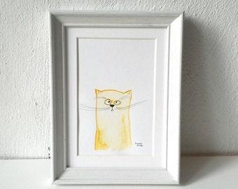 watercolor cat, grumpy, handpainted original, illustration, art for kids, art postcard, aquarelle art, cat lover, nursery decor, wall decor