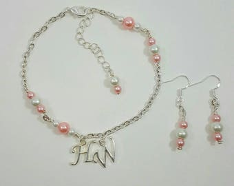 Hotwife Anklet, Initial Jewelry, Personalized Jewelry, Swingers Jewelry, Sexy Anklets, FREE Matching Earrings (Pink), Kinky, Initial Anklet