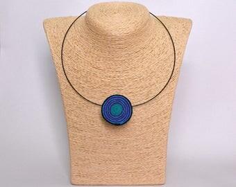 Handmade felt necklace choker circle spiral purple turquoise blue