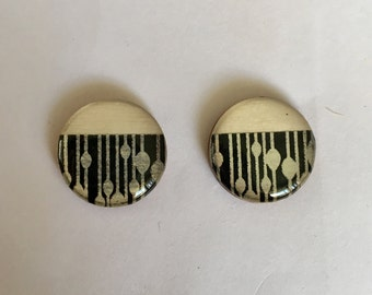 20mm Bamboo/Black & Silver Resin Studs • Resin earrings • Bamboo studs • Surgical Steel Posts