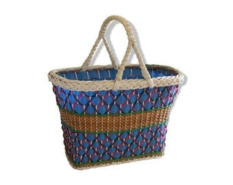 Basket wicker and scoubidou multicolored braided plastic son of 60s vintage