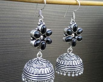 Tribal Gift Earrings | Black Onyx Earrings | Hand Crafted Earring | Birthday Gift Earrings | Boho Jewelry Earrings | Oxidized Earrings | E77
