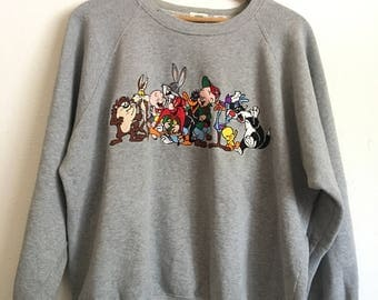 1990s LOONEY TUNES Embroidered Distressed Vintage Pullover Sweater // Size Xxlarge