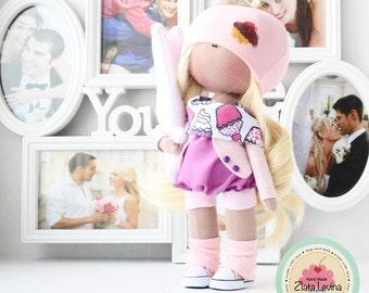 Handmade textile doll 26cm