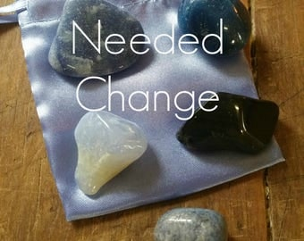 Needed Change Gemstones to help bring about change and help with transition, with French Blue Satin Pouch