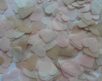 Pale Pink & Hessian Biodegradable Tissue Paper Confetti Hearts Wedding Party