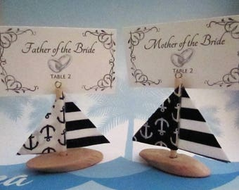 Nautical Driftwood Sailboat Ornament / Place Card Holder / Favor
