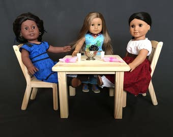 """Table and Two Chairs for American Girl and Other 18"""" Dolls - Unfinished"""