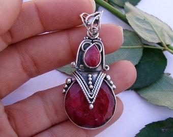 Ruby Pendant,  Ruby Gemstone Pure 925 Sterling Silver Pendant, Birthstone Pendant, Ruby Silver Pendant, Ruby Jewelry, Boho Pendant