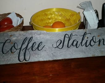 Coffee Station Sign, Kitchen wall decor