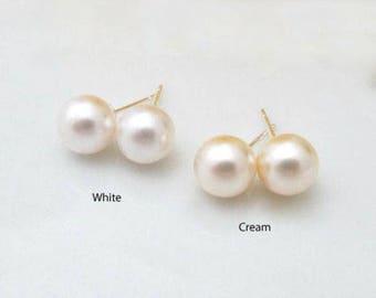 Handmade Swarovski Pearl and Sterling Silver Stud Bridal Earrings, Bridal, Wedding (Pearl-475)
