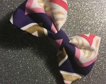 Chevron Print Fabric Bow: RTS!