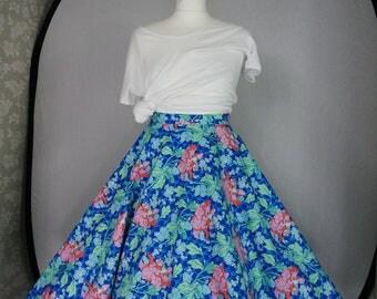 Blue & pink floral circle skirt