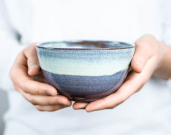 Blue shimmering cereal Bowl ceramic / / dish for breakfast, snacks or soup / / cereal Bowl, tea bowl, soup bowl weel