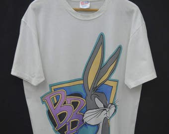 BUGS BUNNY Shirt Vintage 90's Bugs Bunny Looney Tunes American Animated Series Tee T Shirt Size L