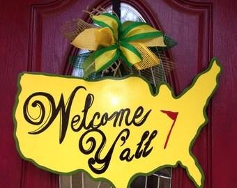 Masters Golf Door Hanger, Golf Wreath, Augusta Golf, Golf Door Hanger, Welcome to the Masters Golf, Welcome yall golf