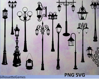 lantern silhouette, lantern clipart, street light. street lamps, street lantern,  Instant Download. PNG SVG, street lamp silhouette