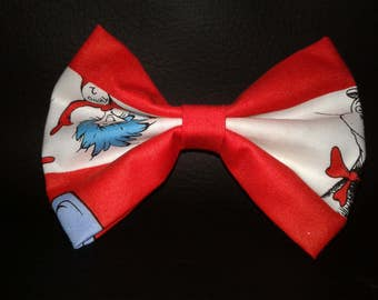 Dr. Suess Red and White Stripped Hairbow