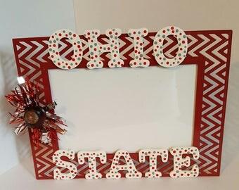 "Ohio State, Photo Frame, Handmade, Buckeyes, OSU, Metal Frame, Man Cave, Gift Idea, 4"" X 6"" Frame"