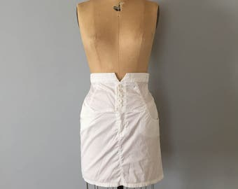 semi sheer white mini skirt | 90s yoked button up waist skirt