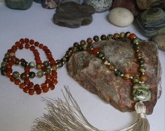 Rhyolite and Rudirushka seed 108 Japa Mala