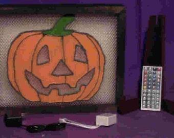 Pine Framed Pumpkin Light Box