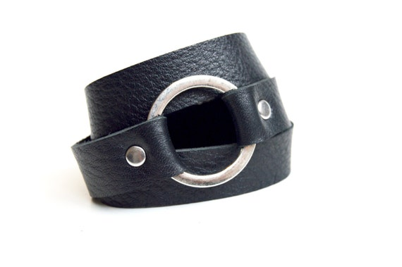 Black Leather Wrap Bracelet With Ring: Genuine Leather Black Wrap Bracelet--Joanna Gaines Inspired Cuff