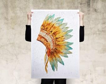 Headdress Oil Paint Art Print Poster, Large Print, Canvas Print, Wall Art, Poster, Home Decor, Print Poster, Gift, Digital Art Print