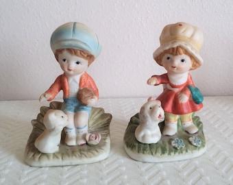 Vintage Homco Boy and Girl Porcelain Figurines, Vintage Homco, Vintage Figurines, Boy and Girl Figurines, Vintage Decor