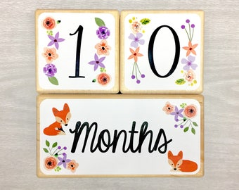 Baby Milestone Blocks - Baby Age Blocks - Foxes - Flowers - Girl- Monthly Weekly Yearly Baby Blocks - First Day School Blocks- Shower Gift