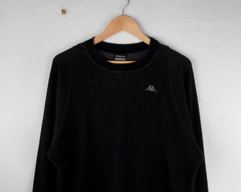 RARE!!! Kappa Small Logo Embroidery Crew Neck Black Colour Sweatshirts Hip Hop Swag L Size