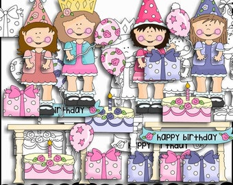 Birthday Clipart - Girls Clipart - Party Clipart - Pretty Birthday Girls - Instant Download - Commercial Use
