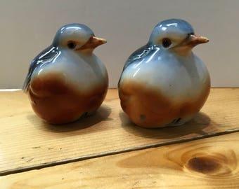 Pair of Vintage Ceramic Blue Bird Ornaments