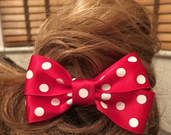 Red Hair bow, spotty hair bow, hair accessories, hair bow, girls hair accessories, hair clip, bow accessory, childrens hair clips