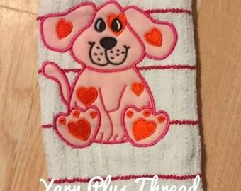 Valentine Puppy Applique Embroidery Design