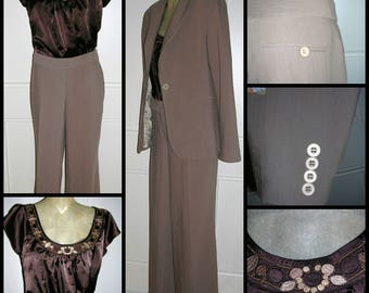 Original Vintage 1990's caramel pinstriped micro-fibre woman's pantsuit by Events with embroidered chocolate brown satin top size: 12