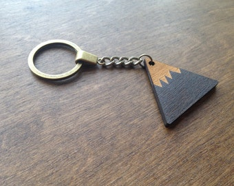 Gift for Him, Mountain Keychain, Christmas Gift for Him, Wooden keyring, Key Fob, Custom Keychain Personalized, Wood  Keychain, Father's Day
