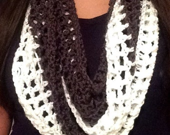 Gray and White Infinity Crochet Scarf