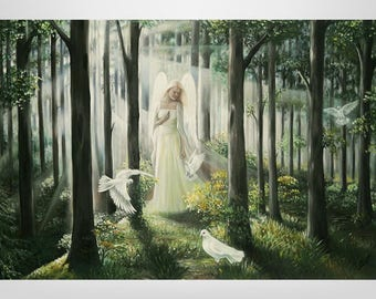 Guardian Angel, Angel, oil painting, Esoterics, forest, fantasy, painting, mystical, painting, art print on canvas, prints